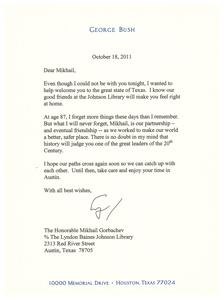 Реликвии. Письмо Джорджа Буша-старшего от 2011 года советскому лидеру Михаилу Горбачеву
