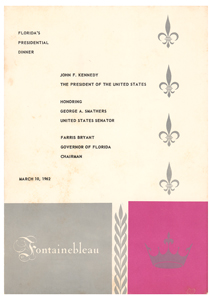 John F. Kennedy Florida Dinner Menu