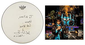 PrinceandSheila E. Stage-Used Drum Headfrom the Sign O' The Times Movie,Signed by Sheila E.