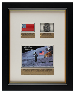 Dave Scott's Apollo 15 Flown Flag and Robbins Medal Display