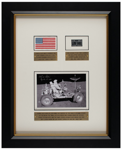 Dave Scott's Apollo 15 Flown Flag and License Plate Display