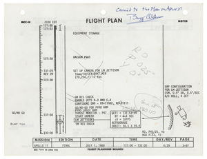 Buzz Aldrin's Apollo 11 Lunar Orbited Flight Plan Page