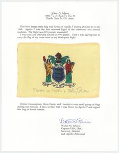 Wally Schirra's Apollo 7 Flown New Jersey State Flag