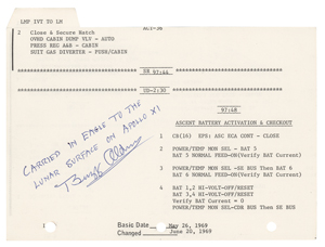 Buzz Aldrin's Apollo 11 Flown Lunar Module Activation Checklist
