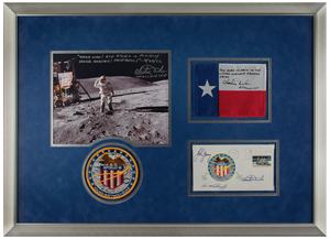 Charlie Duke's Apollo 16 Flown Texas State Flag and Signed Insurance Cover