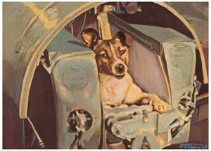 Soyuz TMA-14/ISS Flown Painting by Jan Fekete