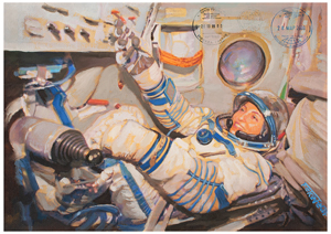 Soyuz TMA-14/ISS Flown Painting by Jan Fekete