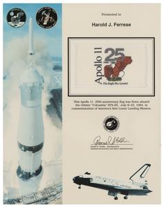 STS-65 Flown Apollo 11 25th Anniversary Flag
