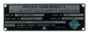 Apollo 9 Flown Lunar Module Grumman Identification Plate