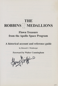 Charlie Duke, Walt Cunningham, and Gerry Griffin Signed Robbins Medallion Guide