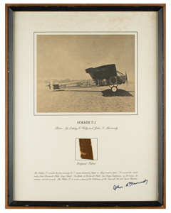 First Nonstop Transcontinental Flight: Flown Fabric Display Signed by John A. Macready