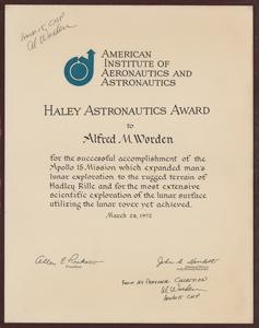 Al Worden's Haley Astronautics Award