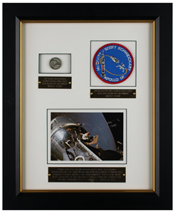 Apollo 9 Flown Robbins Medallion and Patch Display