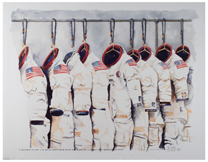 Al Worden's Apollo Space Suit Print Signed by Ron Woods