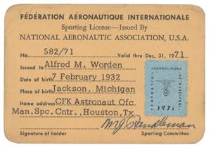 Al Worden's Fédération Aéronautique Internationale Sporting License