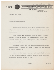 Al Worden's NASA Apollo 15 Crew Selection Announcement