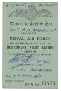 Al Worden's Signed RAF Instrument Pilot Rating Card
