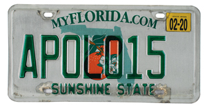 Al Worden's Apollo 15 Florida License Plate