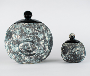 Al Worden's Lot of (2) 'Earth Rise' Ceramic Pots by Helen Garriott