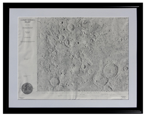 Charlie Duke Signed Apollo 16 Lunar Shaded Relief Map