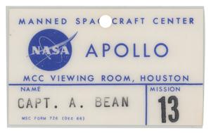 Alan Bean's Apollo 13 MCC Viewing Room Badge