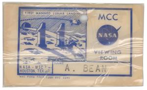Alan Bean's Apollo 11 MCC Viewing Room Badge