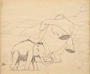 Gertie and Jumbo the Mastodon production drawing from Gertie the Dinosaur