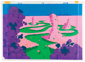 Hand-painted production background of a clover field from Horton Hears a Who!