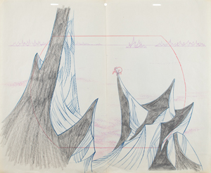 Horton and mountains production drawing from Horton Hears a Who!