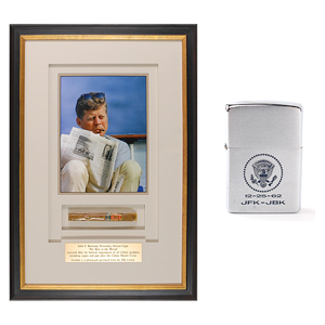 John F. Kennedy Personally-Owned Lighter Given to Dave Powers and Personally-Owned Cigar
