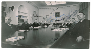 John F. Kennedy and Cabinet Extremely Rare Oversized Signed Photograph