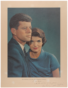John and Jacqueline Kennedy Color Oversized Karsh Photograph Signed as President and First Lady