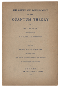 Ludwik Silberstein's 'Origin and Development of the Quantum Theory by Max Planck' Offprint Booklet